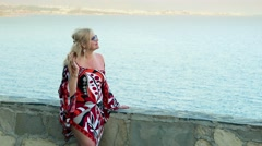 Romantic cute lady happy female tourist on holiday vacation near the sea  Stock Footage