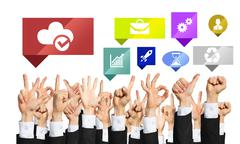 Set of hand gestures and icons Stock Photos