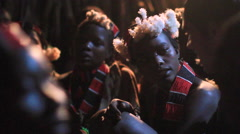 Members From A Tribe Within The Omo Valley Traditionally Singing At Night Stock Footage
