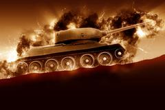 Battle Tank is moving in the mountain at sunset Stock Illustration
