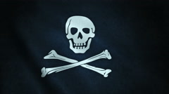 3d animation of pirate flag closeup Stock Footage