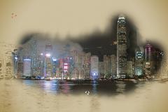 Hong Kong Island with scyscrapes illuminated by night Piirros