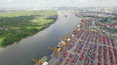 Aerial View Above the Bangkok Dockyard by the Chao Phraya River Stock Footage