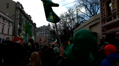 Green flag, green hat, St. Patrick's Day on Arbat street. Stock Footage