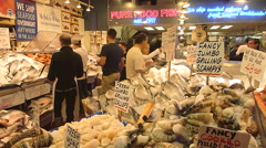 Fish Market At Pikes Place Seattle Stock Footage