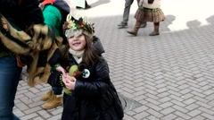 Fairies-princesses on the Irish parade on St. Patrick's day Stock Footage