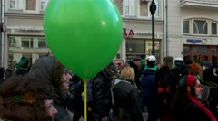 Green balloon, the procession on the feast Day of St. Patrick Stock Footage
