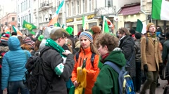 Parade in honor of St. Patrick's day on Arbat street in Moscow. Stock Footage