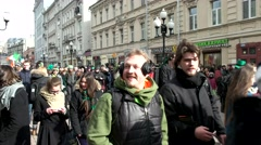 A Grand parade of Irish culture, Saint Patrick's Day on the Old Arbat Stock Footage