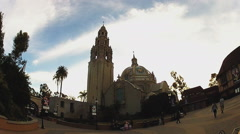 California Tower And Museum Of Man Wide- Balboa Park- San Diego CA Stock Footage