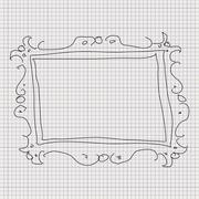 Doodle sketch of a picture frame on graph paper background Stock Illustration