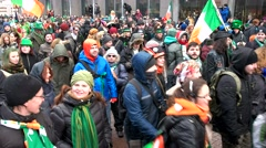 The celebration of St. Patrick's day in Moscow, parade in costumes Stock Footage