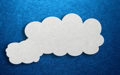 Three dimensional card design with fluffy clouds Stock Illustration