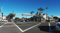 Business District Intersection With Morning Traffic- Carlsbad CA Stock Footage