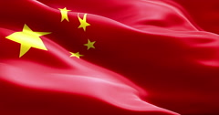 Waving fabric texture with red color of the flag of people of republic of china Stock Footage