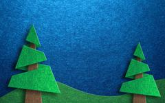 Seasonal greeting card design with two pine trees Stock Illustration