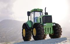 Large heavy duty green tractor on a mountain Stock Illustration