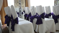 Decoration flowers and chairs in wedding hall for the ceremony Stock Footage