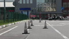 Motorcyclist drives around obstacles and stop at the line. Stock Footage