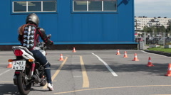 Advanced rider training for motorcycle skills with instructor. Stock Footage
