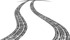 Road with traces of tires and a line of horizon. Black and white vector illus Stock Illustration