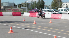Place for motorcycle driving skills practicing. Stock Footage