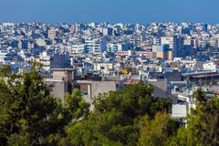 Aerial View on Athens from Acropolis - stock photo