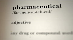 Pharmaceutical Definition Stock Footage