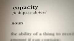 Capacity Definition Stock Footage