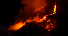 Hawaiian Lava flow from Kilauea volcano Hawaii at night Stock Footage