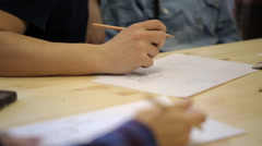 Close-up view of man drawing picture with pencil Stock Footage