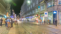 Wenceslas Square in Prague at night timelapse, dusk time Stock Footage