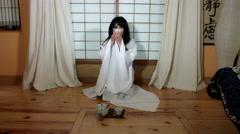 4k Anime Shot of a Japanese Woman Geisha Drinking Tea Stock Footage