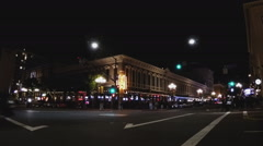 Intersection In Downtown San Diego California Gas Lamp District At Night Stock Footage