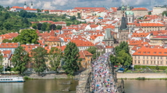 Charles Bridge and Prague Castle timelapse, view from the Bridge tower, Czech Stock Footage