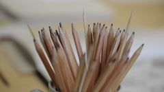 Close-up view of drawing pencils keeping in pot Stock Footage