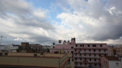 Spain Roofs and clouds in Lloret de Mar Stock Footage