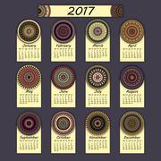 Calendar 2017. Vintage decorative colorful elements. Ornamental floral orient Stock Illustration
