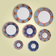 Set of plates with elegant ethnic tribal mandala ornament in boho style. Home Stock Illustration