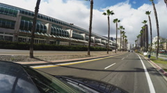 Viewpoint Car Driving By San Diego California Convention Center Stock Footage
