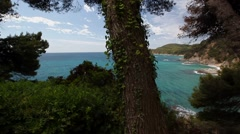 Santa Clotilde gardens and sea in Lloret de Mar Stock Footage