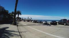 Full Parking Spaces Along La Jolla Beach Park- La Jolla CA Stock Footage