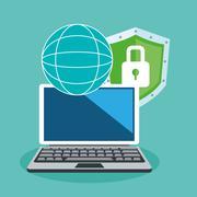 Laptop cyber security system design Stock Illustration