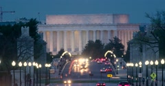 Lincoln Memorial-Memorial Bridge Washington DC in rush hour at dusk real time Stock Footage