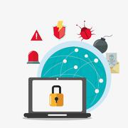 Laptop global cyber security system design Stock Illustration