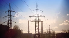 Pipe with smoke and line of electricity transmission Stock Footage