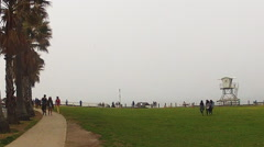 Pan Of La Jolla California Beach Park On Foggy Day Stock Footage