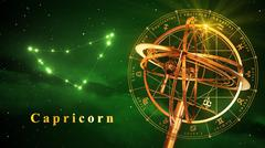Armillary Sphere And Constellation Capricarn Over Green Background Stock Illustration