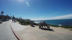 POV Driving Along Beach Cliffs La Jolla California Stock Footage