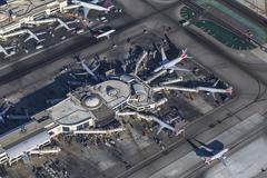 Los Angeles LAX Airport Terminal Aerial Stock Photos